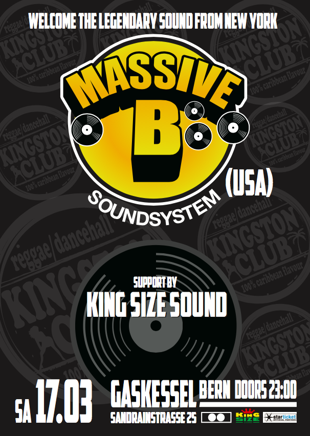 #KingstonClub presents MASSIVE B & KING SIZE SOUND - Gaskessel, Bern - 17.03.2018